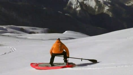 Stand up paddle sur neige au col d'Aubisque
