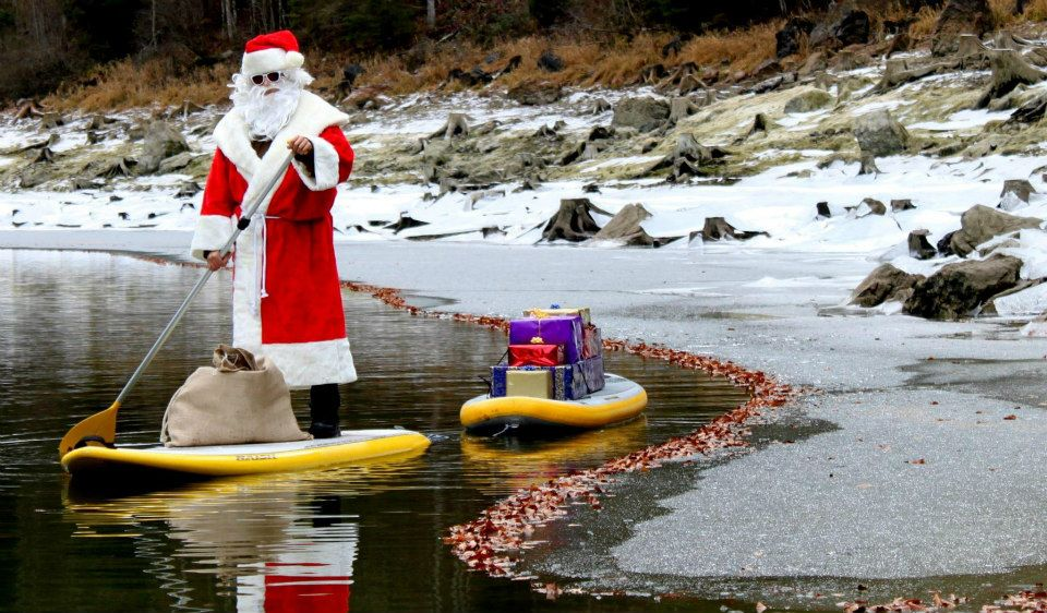 stand up paddle noel santa claus pere noel