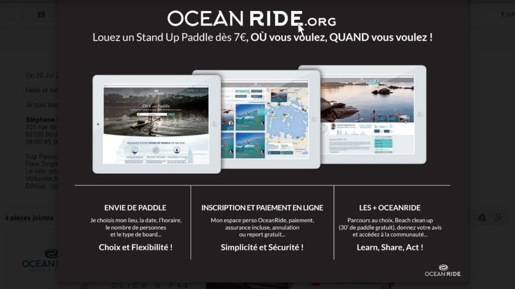 Louer son stand up paddle avec le site internet Oceanride