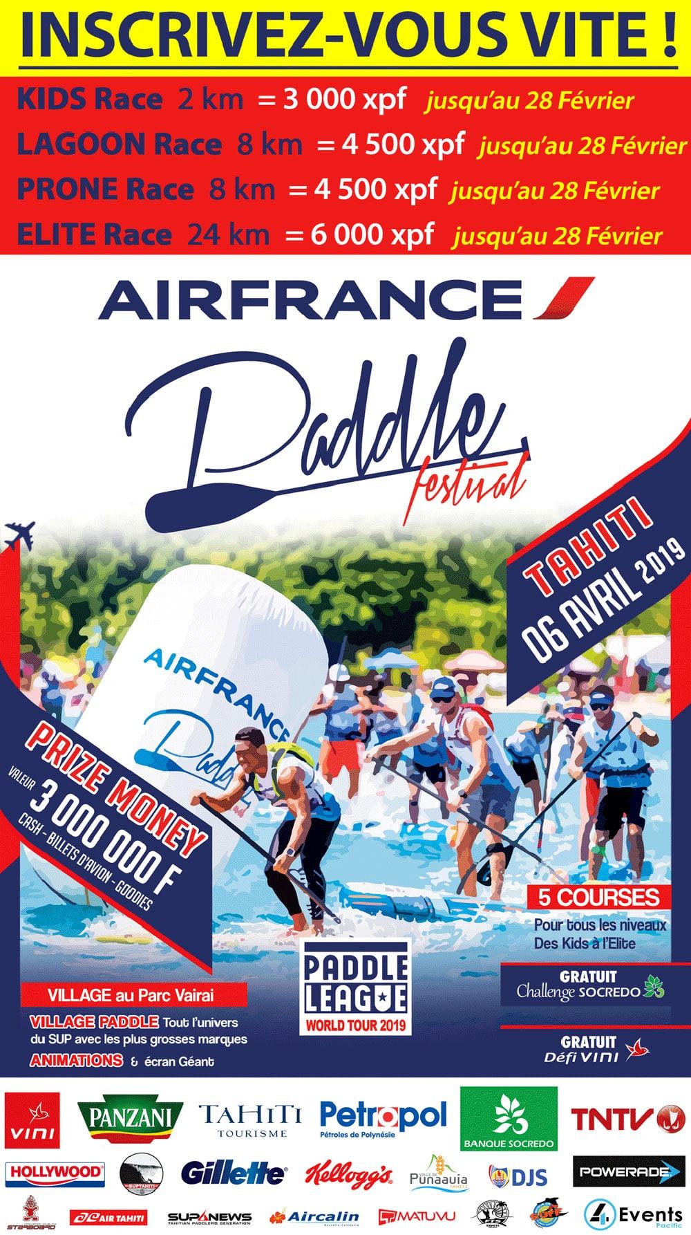 Air France Paddle Festival le samedi 06 Avril 2019 à Tahiti