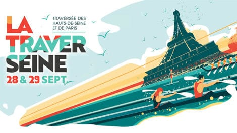 Affiche de la 5ème édition de la TraverSeine, course de stand up paddl
